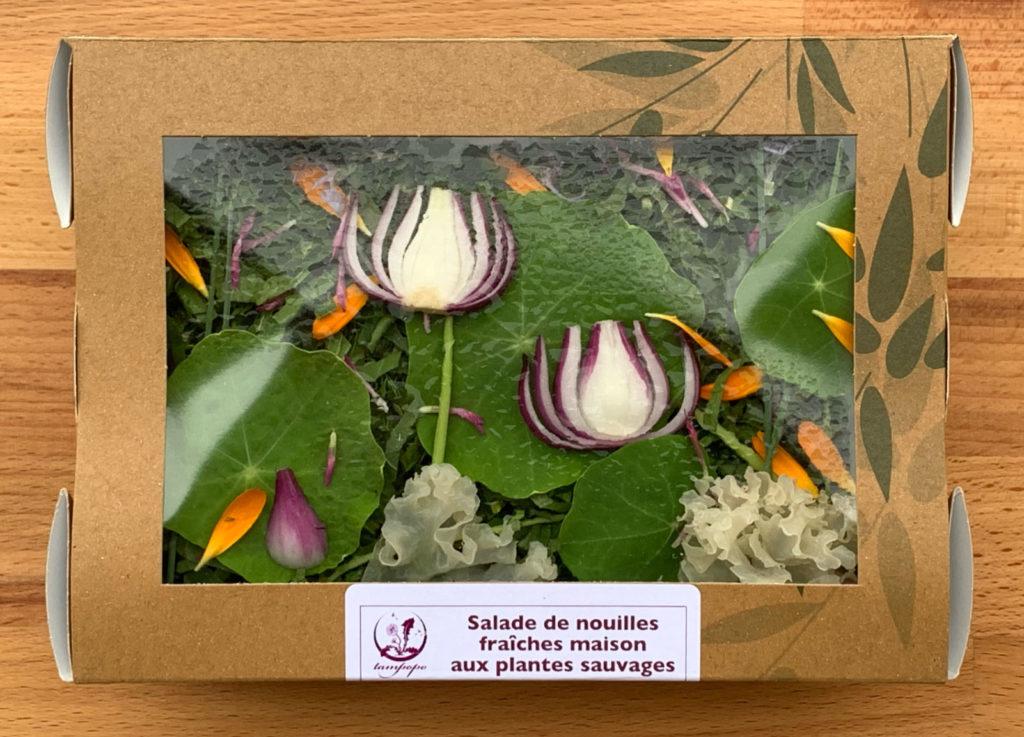 La salade de nouilles fraîches joue des couleurs et des formes